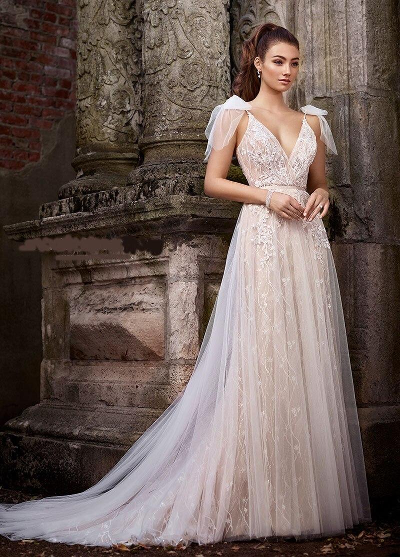 Grande taille nouvelle conception robe de soirée en Tulle avec Appliques v-décolleté Style Unique robe formelle taille personnalisée robe