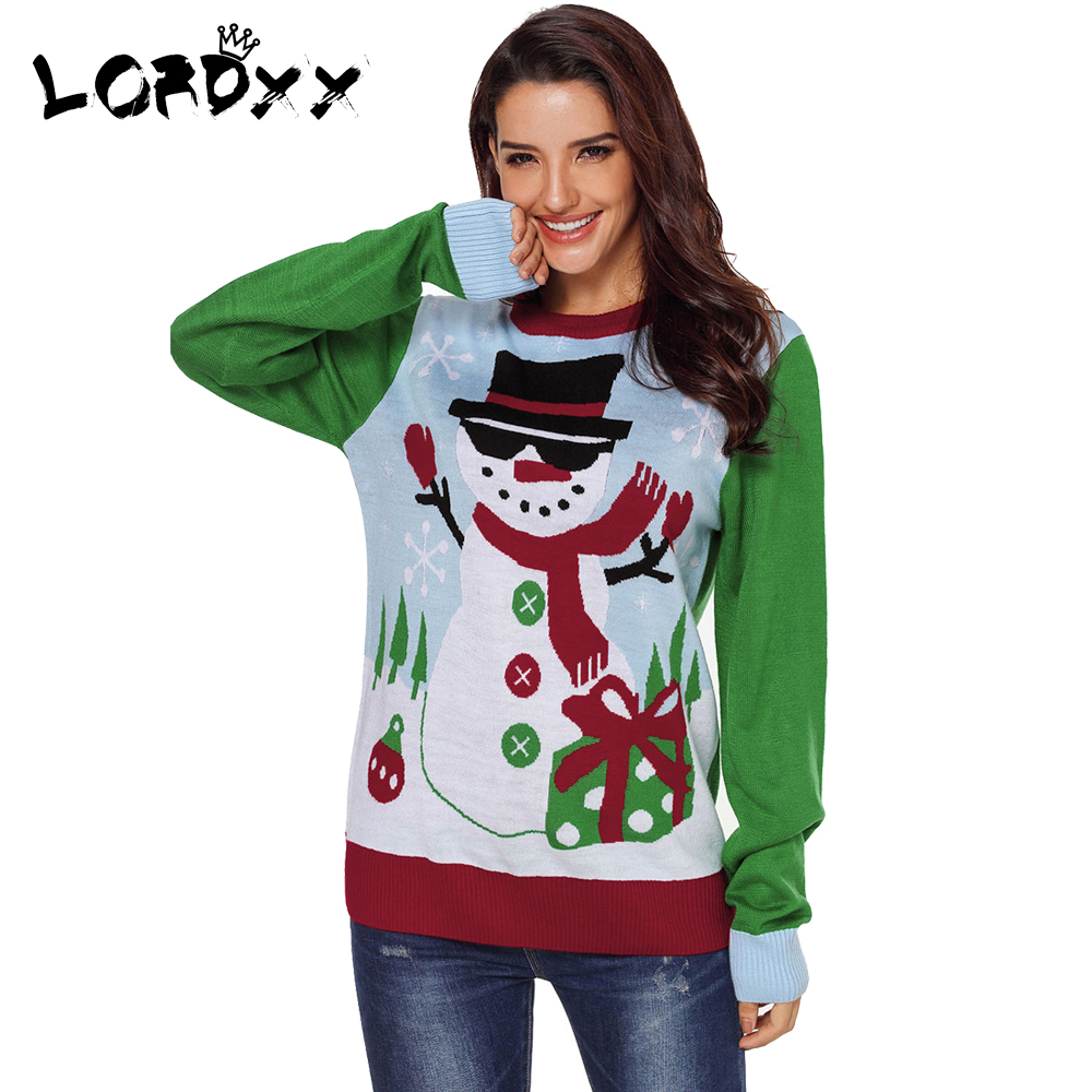 lordxx cool snowman christmas sweater o neck winter woman sweaters knitting pullovers long sleeve christmas tree