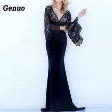 Genuo 2018 Black Lace Sexy Party Dress Deep V-neck Flare Bell Long Sleeves Wedding Maxi Slim Hollow Women Dresses