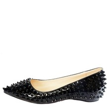 Black Patent Leather Rivets Flat Heel Slip-ons Pointed Toe Dress Shoes Custom Bottom Dress Shoes Available Size 45 Flats