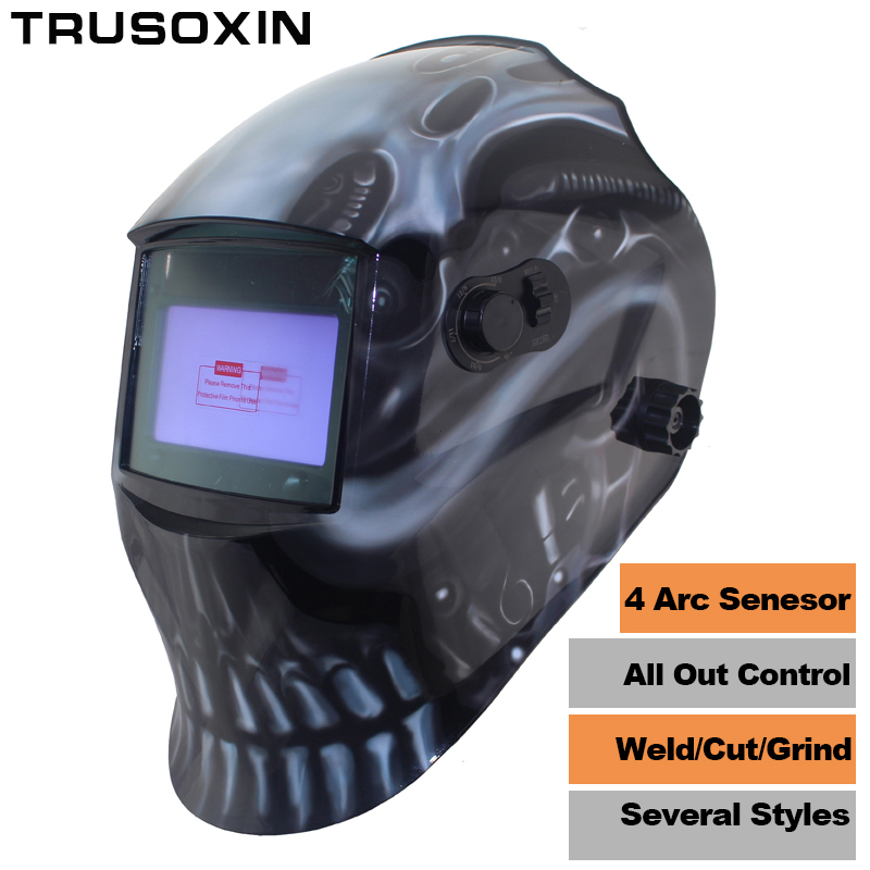 Out Adjust Big View Eara 4 Arc Sensor Grinding Cutting Solar Auto Darkening TIG MIG MMA Welding Mask/Helmet/Welder Cap/Face Mask dekopro skull solar auto darkening mig mma electric welding mask helmet welder cap welding lens for welding machine