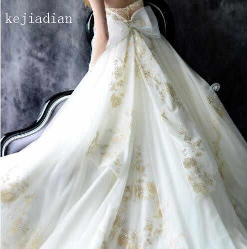 Gold Spitze Tüll Weiß/Elfenbein Brautkleid sicke Sexy Appliques liebsten kathedrale zug brautkleid Brautkleid Vestidos