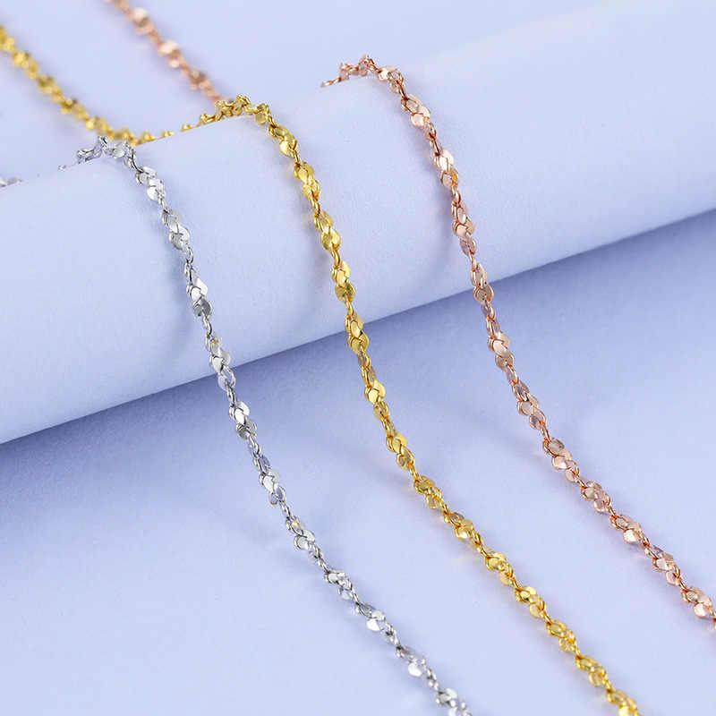 Collar Vintage de plata de ley para joyería colgante de mujer, collar de estrella de 1,5mm, cadena de boda de plata S925 en 3 colores chapados en oro