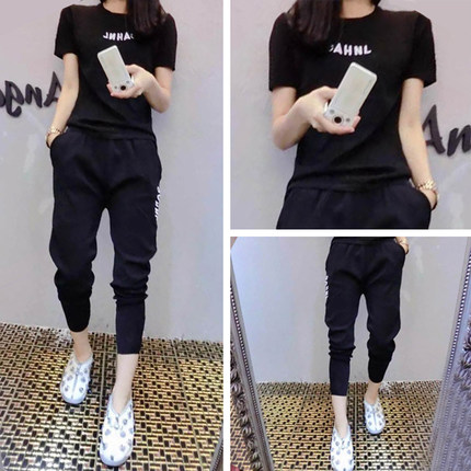 Two pieces set women tracksuit outfits casual fashion printing Letter t-shirt tops+Haren pants motion sets sweatshirt 51