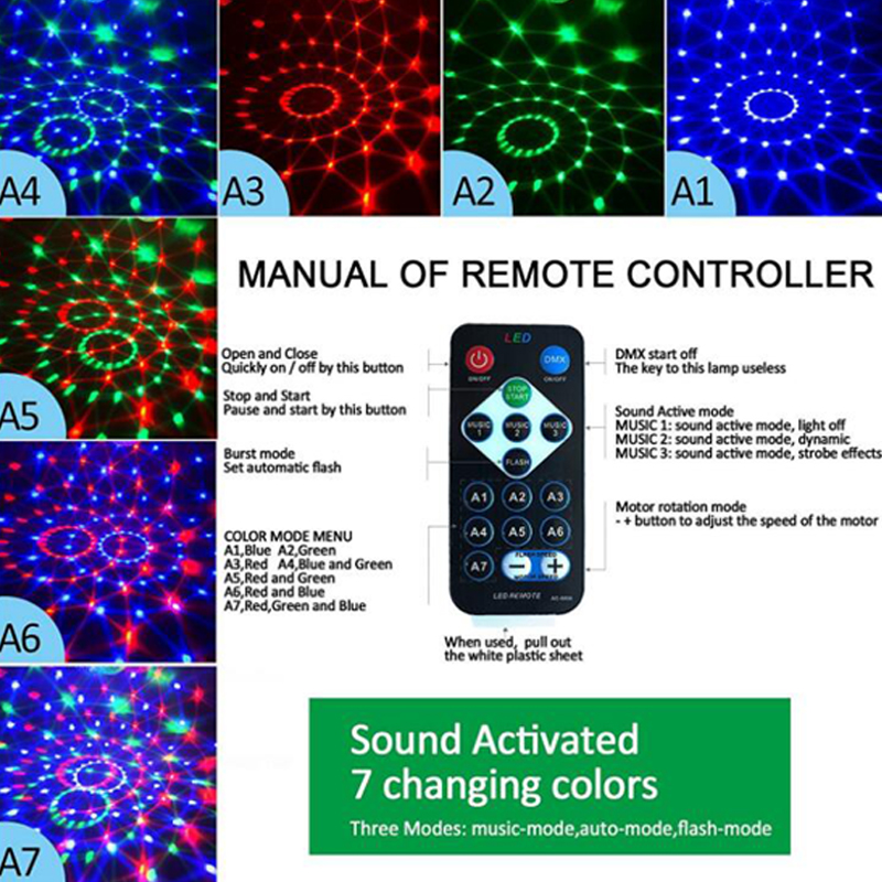 3W Mini RGB Crystal Magic Ball Sound Activated Disco Ball Stage Lamp Lumiere Christmas Laser Projector Dj Club Party Light Show (4)