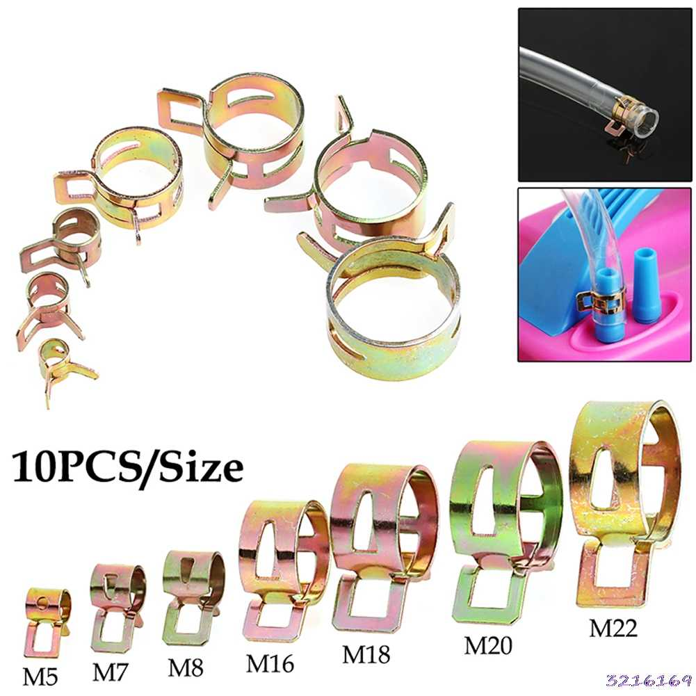 10Pcs 5-22mm Spring Clip Fuel Line Hose Water Pipe Air Tube Clamps Fastener-34#