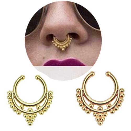 10 pcslot Hot selling Varied crystal fake nose rings rose gold