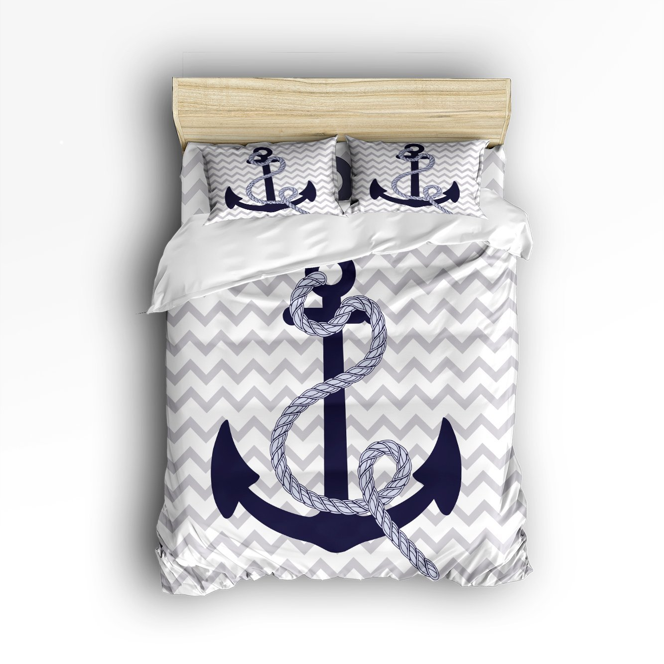 4 Piece Bed Sheets Set, Navy Nautical Anchor with Grey <font><b>White</b></font> Zig Zag <font><b>Chevron</b></font> Pattern