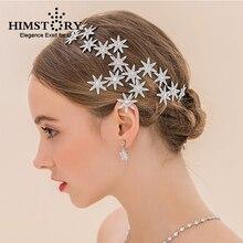 Himstory Romantic Crystal Sunflower Wedding Hair Accessories Elegance Free Bending Star Bride Headdress Headpiece 2 colors