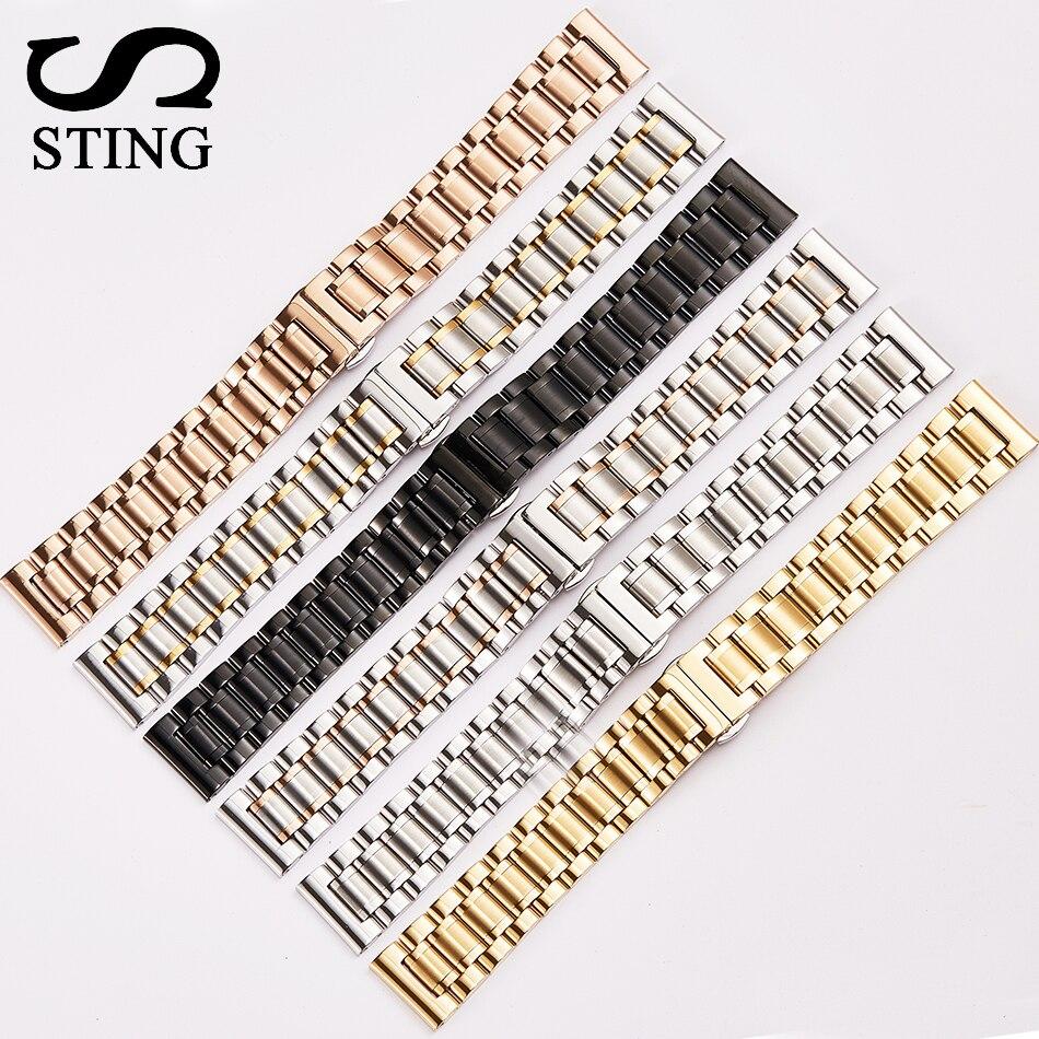 Stachel Strap 316L Edelstahl 5 Perlen Armband Uhr Band Mit Werkzeug 22mm männer Armband Armband Armbanduhr schwarz Gold Silber