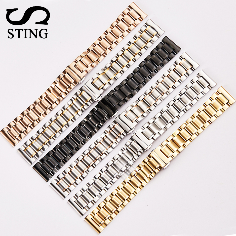 Sting Strap 316L Stainless Steel 5 Beads Watch Strap Watch Band With Tool 22mm Men's Watchband Strap Watch Black Gold Silver цена и фото