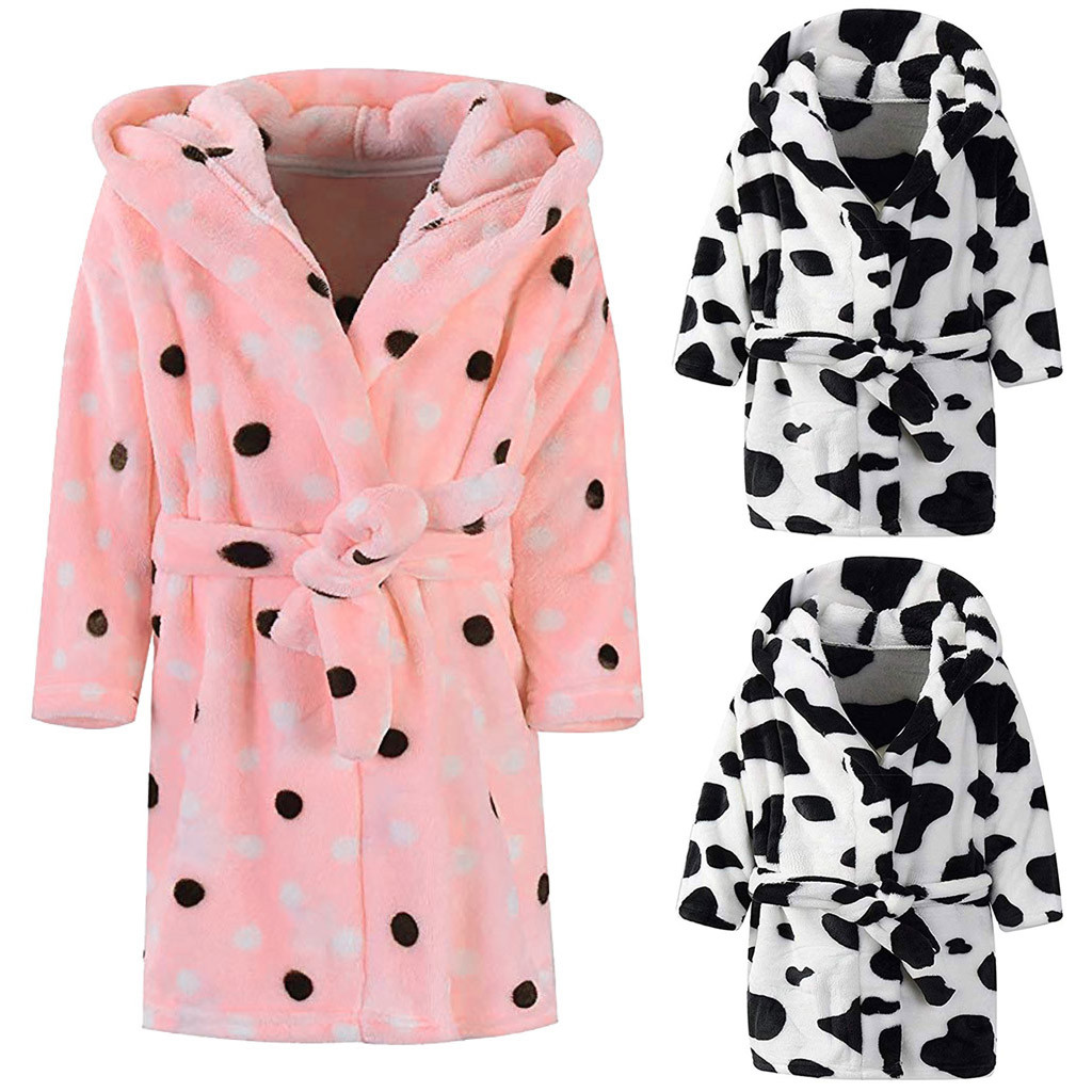 Hoodie Towel Bathrobes Pajamas Sleepwear Night-Gown Flannel Baby-Print Kids Children's title=