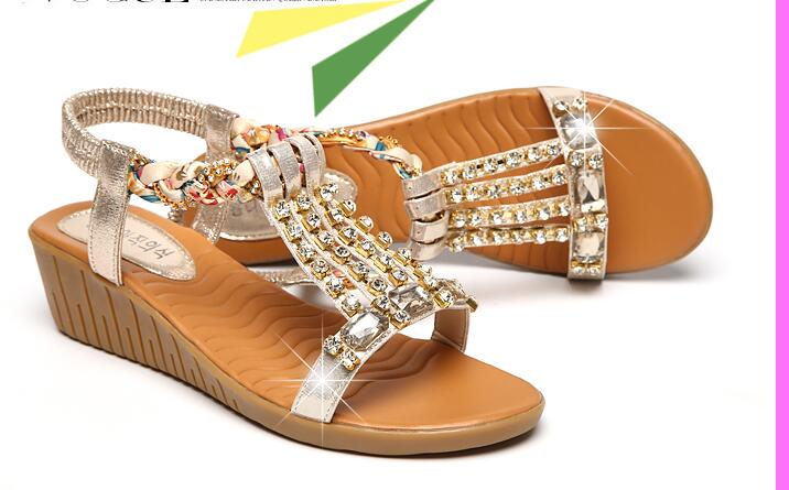 2017 Hot Fanyuan Women Summer Gladiator Wedges Bling Crystal Decro Elastic Band Sandals Retro Beach Soft Shoes Plus Size 40 CC цены онлайн