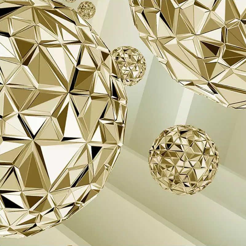 תמונה מותאמת אישית קיר טפט 3D סטריאו מרחב מופשט זהב כדור מודרני אופנה פנים רקע קיר דקורטיבי ציור
