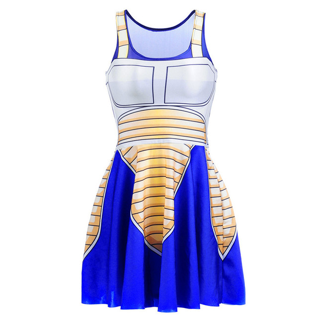 Sexy Girl Summer Dress Dragon Ball Cosplay Son Goku Vegeta Reversible Sleeveless Skater Women