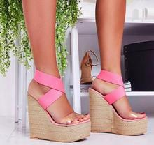 Sexy Open Toe Platform Wedge Sandal Summer Elastic Knitted Cross-tied Cutouts Gladiator Shoe Woman Super High Sandal 2017 newest handmade crystal beaded wedge slippers open toe butterfly knot platform sandal transparent pvc sandal