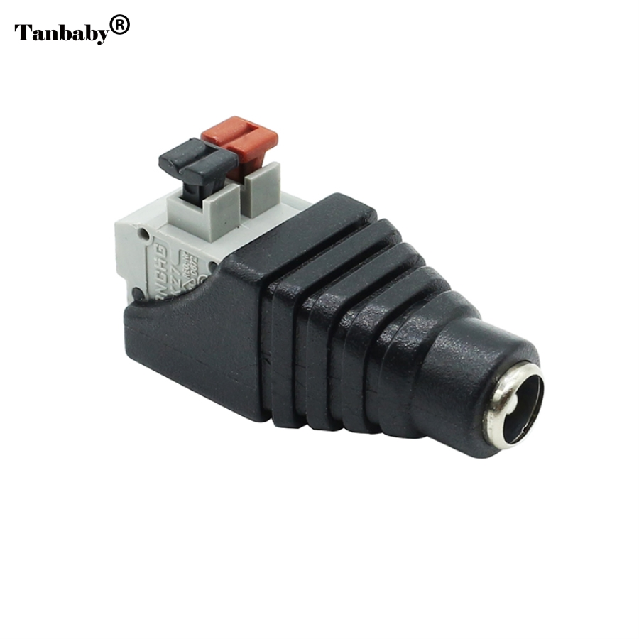 Tanbaby 1Pcs 2.1*5.5mm DC Female connector DC Power Jack Adapter Plug Connector for 3528/5050/5730 single color led strip 5pcs female 5 pcs male dc connector 2 1 5 5mm power jack adapter plug cable connector for 3528 5050 5730 led strip light