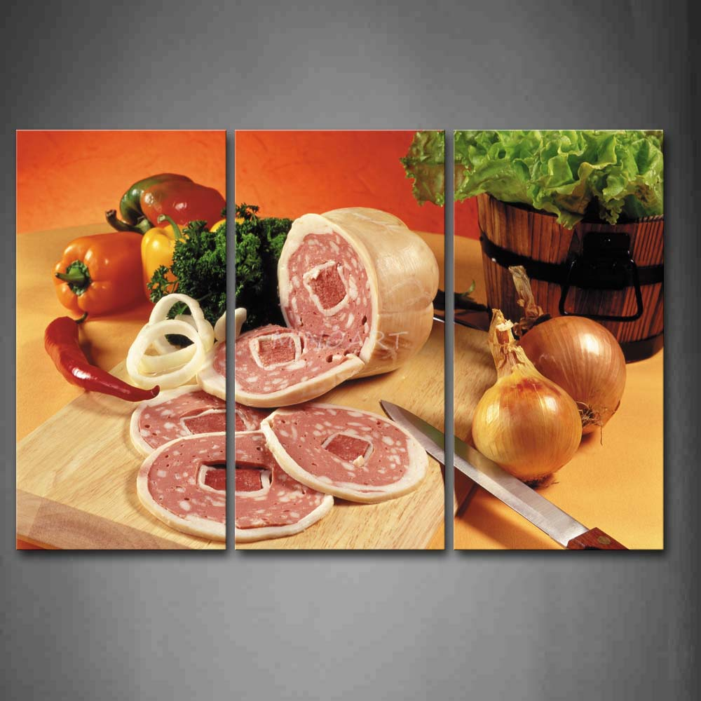 3 Piece Wall Art Painting Meat With Various Vegetable And font b Knife b font Picture