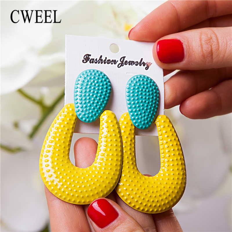 CWEEL Gold Color Earrings For Women Trendy 2019 Fashion Jewelry Wedding Party Za Fringe Earrings Hanging Bohemian Big Earring