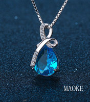 Promotional S925 Sterling Silver Pendant Korean Angel Tear Zircon Necklace Fashion Jewelry for Women's Fashion Gifts