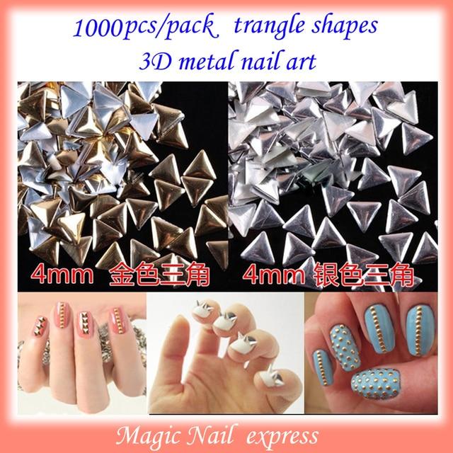 1000pcs/pack Metal Nail Art Studs Square Circle Star Punk Spikes 3D ...