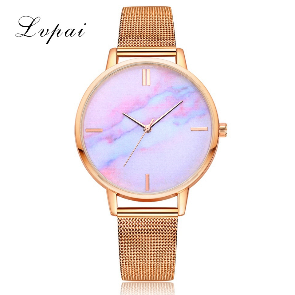 Lvpai Brand Hot Sale Fashion Stainless Steel Rose Band Quartz Watch Luxury Women Rhinestone Watches Valentine Gift valentine womage quartz rhinestone decoration wrist watch with dots hour marks silver case steel band for couple