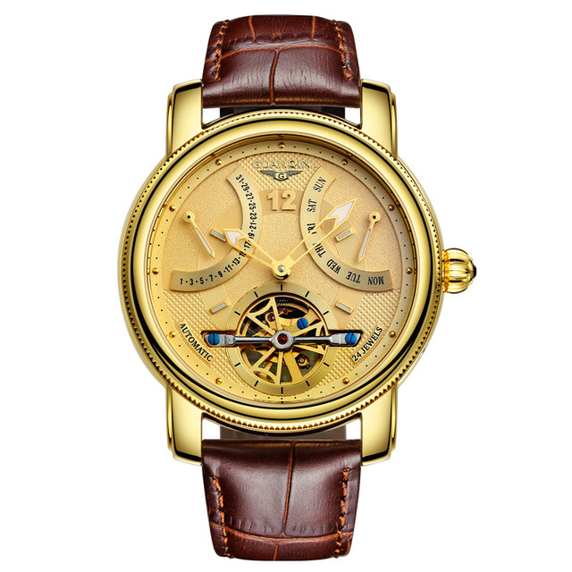 Luxury brand GUANQIN fashion Casual Tourbillon watches men reloj hombre Mechanical Hand Wind leather watch relogio masculino