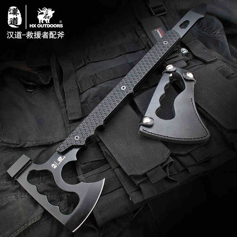 HX OUTDOORS Rescue Outdoor Multifunctional Axe Camping Hunting Artillery Fire Rescue Axe Hammer K10 Fibreboard Handle 440c Steel outdoor multifunction camping tools axe aluminum folding tomahawk axe fire fighting rescue survival hatchet