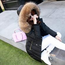 Последние Корейский Женская одежда Теплое Пальто Сгущать Утка Вниз Вниз куртка Большой ярдов Чистый цвет Енот Меховой воротник Тонкий Слой G0276