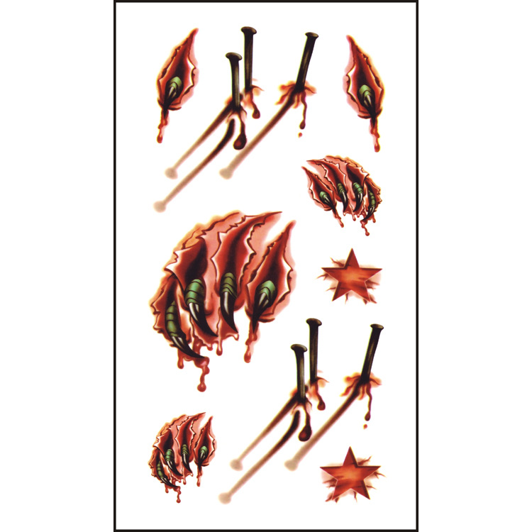 2016 Halloween Trick or Treat 3D Scar Blood Temporary Tattoo Stickers Fancy Dress Up Joke Art Flash Tattoo Faux Injury Temp image