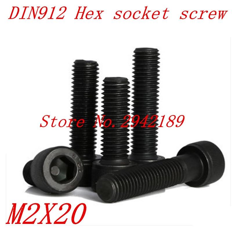 100pcs/Lot Metric Thread DIN912 M2x20 mm M2*20 mm Black Grade 12.9 Alloy Steel Hex Socket Head Cap Screw Bolts 20pcs m3 6 m3 x 6mm aluminum anodized hex socket button head screw