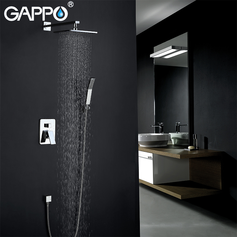 GAPPO Shower Faucets chrome rainfall bathroom concealed shower mixer taps bath rain shower set bathroom faucet mixer tap armatur короб стеллажный valiant romantic с крышкой 30 х 40 х 25 см