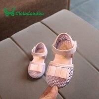 Claladoudou 12-14 CM de La Pu de Cuero Zapatos de Niña, Rosa Hollow Primer Caminante Zapatos Para Los Niños Azul Marino de Punto Zapatos de Bebé de verano