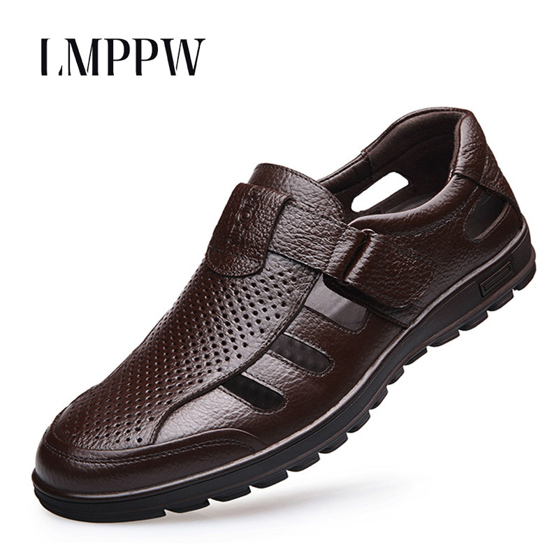 Summer Men's Sandals Shoes Fashion Leather Breathable Hollow Cool Shoes Casual Soft Bottom Male Flat Shoes Outdoor Black Brown 8 fashion horse hair tassels leather leopard pattern flat shoes black brown pair 37