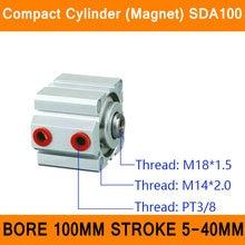 SDA100 Цилиндр Магнит Компактный ПДД Серии Диаметр 100 мм Ход 5-40 мм Компактный Цилиндры Воздуха Двойного Действия Воздуха пневматический Цилиндр ISO