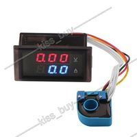 DC 100V 200A Volt Amp Meter Dual display Voltage Current 12V 24V CAR Voltmeter Ammeter Charge Discharge Solar Battery Monitor