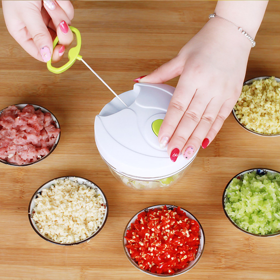 Handhold Mini Meat Grinder Moedor De Carne Manual Pull Rope Grinding Machine Household Garlic Cutter Vegetable Garlic Cutter lucog 900ml food grinder mincers for meat vegetable spice manual meat grinders stainless steel blade for kitchen moedor de carne