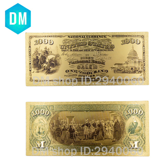 1875 Year Pure Gold Banknote Usa Money Custom Currency Usd 1000 Dollars With Colored Newest Banknotes