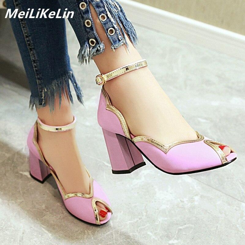 6ea0826ad2f5 MeiLiKeLin 2019 Spring New Ladies Shoes Chunky Heels Peep Toe Gilt Brink High  Heels Womens Pumps