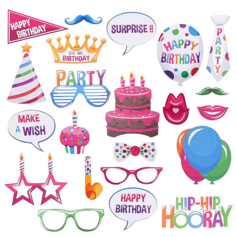 22 Pcs Happy Birthday Photo Booth Props Funny Birthday PhotoBooth Props Decor For Celebrating Birthday Party Decoration