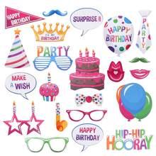 22 pçs feliz aniversário photo booth adereços engraçado aniversário photobooth adereços decoração para celebrar festa de aniversário decoração