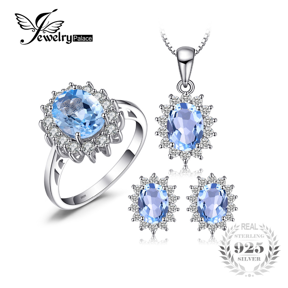 JewelryPalace Natural Topaz Ring Earring Pendant and a Gift Chain Diana Jewelry Set Solid 925 Sterling Silver Jewelry Set