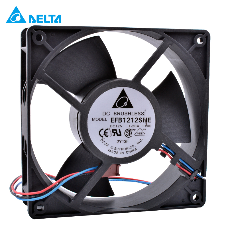 New and original DELTA EFB1212SHE 12cm 120mm fan 12038 DC 12V 1.20A Double ball bearing 3pin air volume server cooling fan