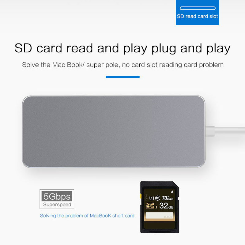 Type C USB 3.0 HUB vers HDMI 3.5mm Audio adaptateur Ethernet RJ45 avec moyeu de lecteur de carte SD TF type-c LSMK99