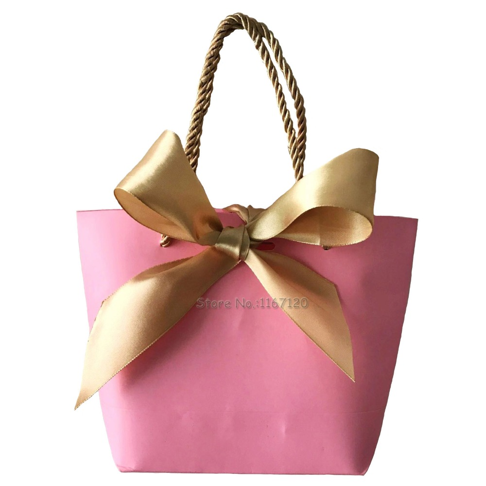 20pcs Portable Kraft Paper Bag Wedding Party Favors Candy Handle ...