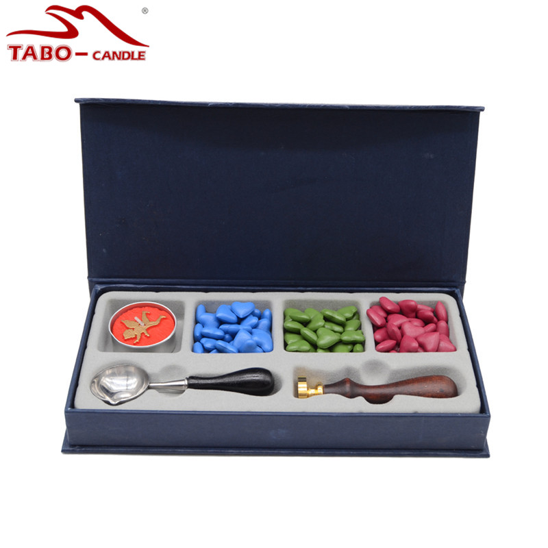 Traditional Postal Decoration Wax Seal Stamp Set with Seal Wax Granule 1 Tea Light and Wax Melting Spoon