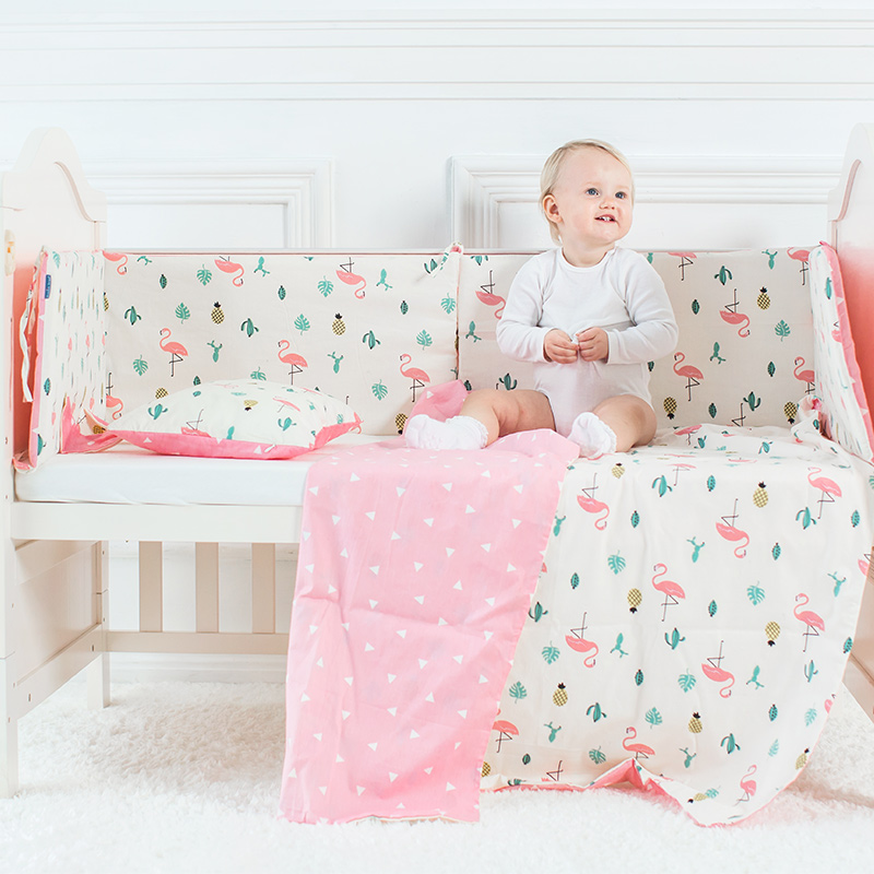 Baby Bedding Set Flamingo Pattern Crib Kit Including Cot Bumper Flat Sheet Pillowcase Duvet Cover Baby Bed Hanging Bag For Girls