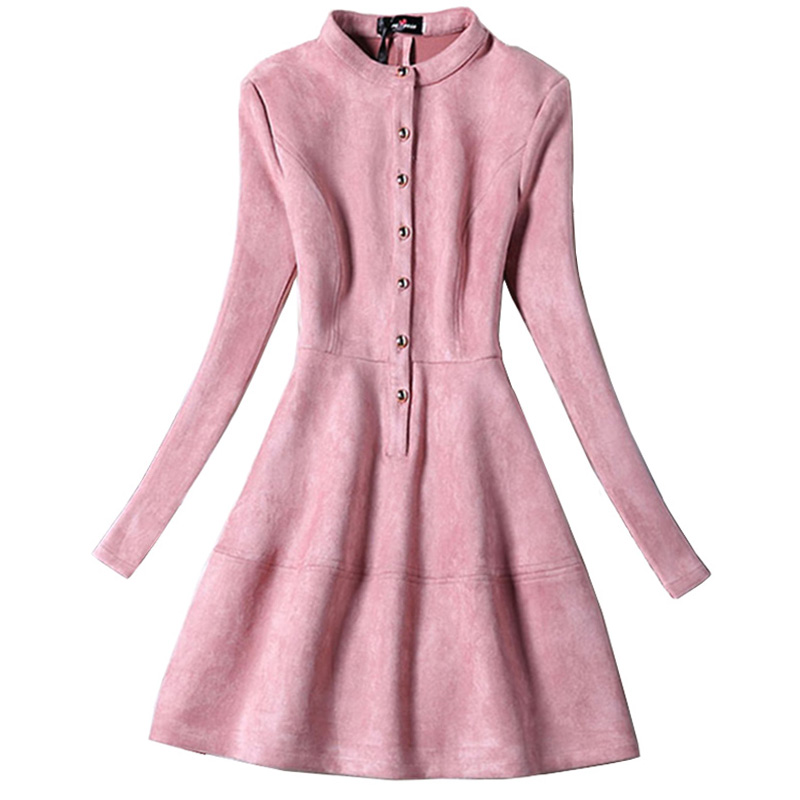 2017 Spring Womens Faux Suede Dresses Long Sleeve Pink Dresses For ...