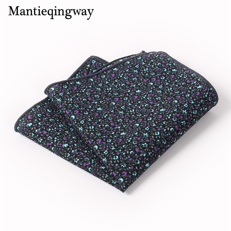 Mantieqingway Cotton Floral Handkerchief Formal Business Suit Handkerchiefs Wedding Paisley Hanky Fashion Men's Pocket Square
