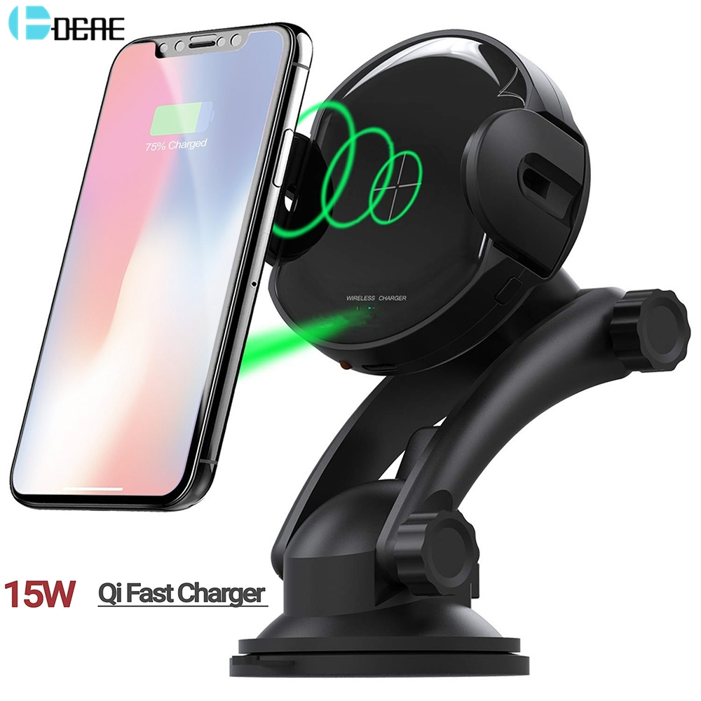 Wireless 15W Quick Charger Car Phone Mount Automatic Clamping Cell Phone Holder